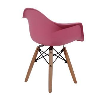 Cadeira Infantil Eiffel Com Braços Kids - Base Madeira - Cor Rosa Pink