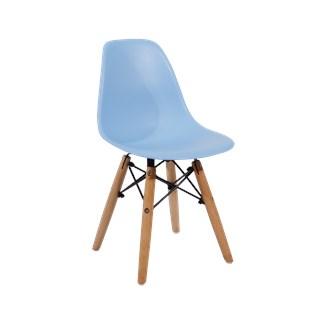 Cadeira Infantil Eiffel sem Braços Kids - Base Madeira - Cor Azul
