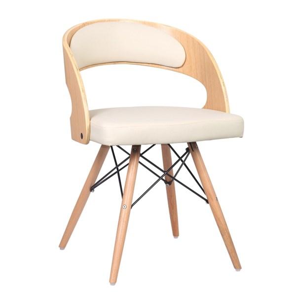 Cadeira Isabel Revestida em Couro Ecológico - Cor Bege