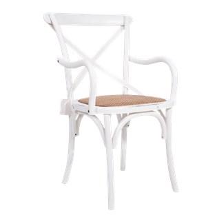 Cadeira Katrina Desgastada Com Braços - Cor Branca