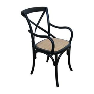 Cadeira Katrina Desgastada Com Braços - Cor Preta