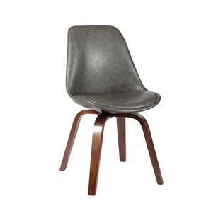 Cadeira Lis Revestida Couro Ecológico - Cor Cinza Escuro