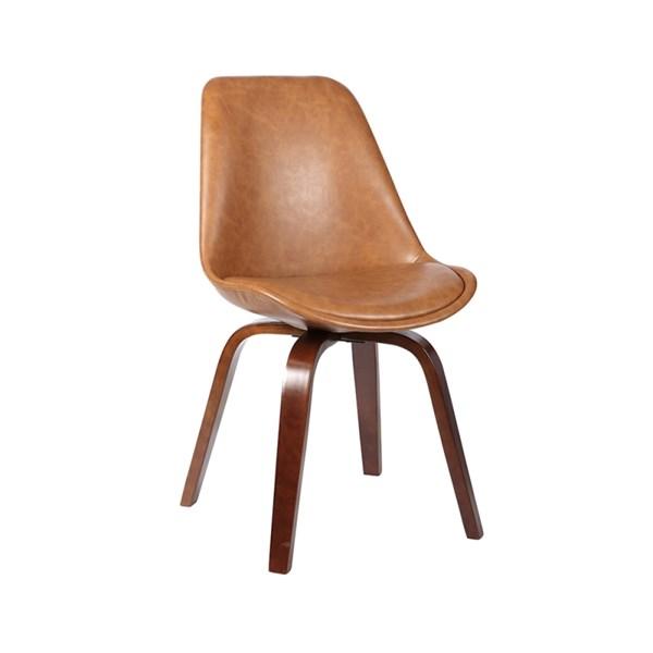 Cadeira Lis Revestida em Couro Ecológico - Cor Marrom