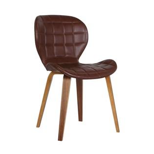 Cadeira Lucia em Couro Ecológico - Marrom