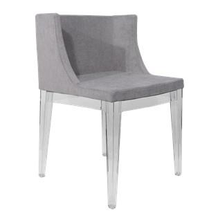 Cadeira Mademoiselle - Base em Policarbonato - Assento em Linho Cinza