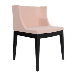 Cadeira Mademoiselle - Base em Policarbonato - Assento em Linho Rosa