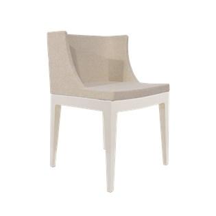 Cadeira Mademoiselle - Base em Policarbonato Branca - Assento em Linho Bege