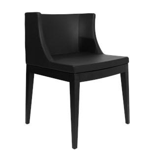 Cadeira Mademoiselle - Base Madeira - Assento Em PU Preto