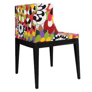 Cadeira Mademoiselle - Base Madeira Preta - Assento Floral Gerbera