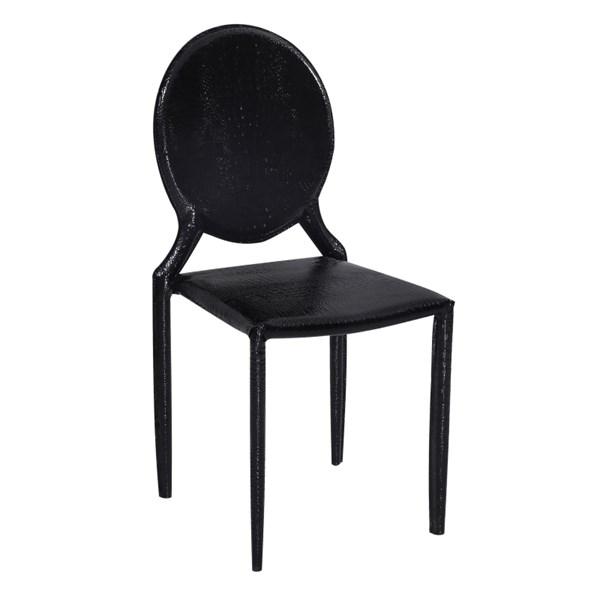 Cadeira Medalhão Revestida em Couro Ecológico Textura Crocco - Cor Preta
