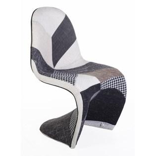 Cadeira Panton Revestida em Patchwork Preto e Branco