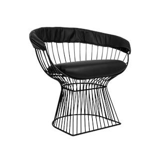 Cadeira Platner em Aço Preto - Revestido em PU Preto com assento em PU Preto - Cor Preta