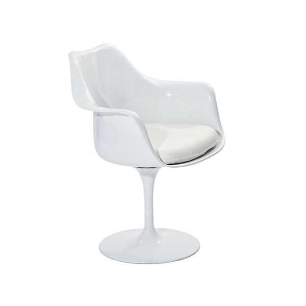 Cadeira Saarinen Tulipa Com Braços Cor Branca - Almofada Preta