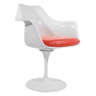 Cadeira Saarinen Tulipa Com Braços Cor Branca - Almofada Vermelha