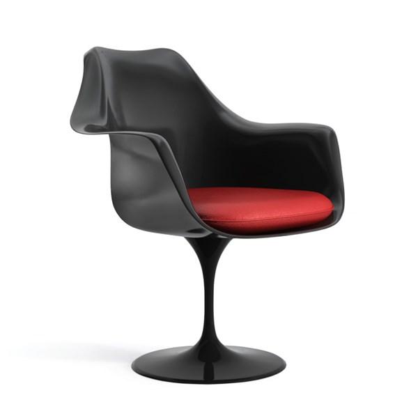 Cadeira Saarinen Tulipa Com Braços Cor Preta - Almofada Preta