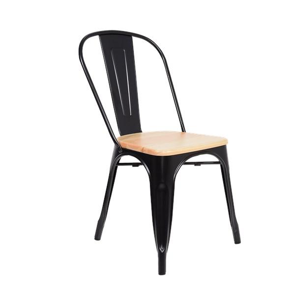 Cadeira Tolix - Assento Madeira Clara - Cor Preta