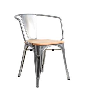 Cadeira Tolix com Braços - Assento Madeira Clara - Cor Galvanizada