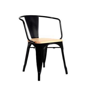 Cadeira Tolix com Braços - Assento Madeira Clara - Cor Preta