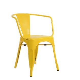 Cadeira Tolix com Braços - Cor Amarela