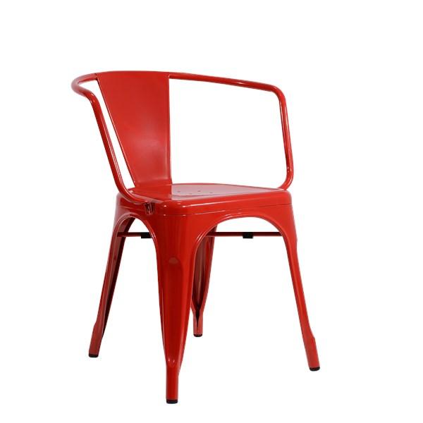 Cadeira Tolix com Braços - Cor Vermelha