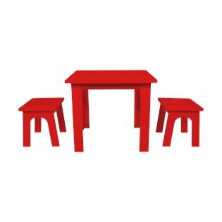 Conjunto Infantil Mesa e Bancos Beija Flor - Cor Vermelha