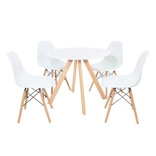 Conjunto Mesa de Jantar Square com 4 Cadeiras Eiffel - Tampo Redondo 90cm Madeira Branca