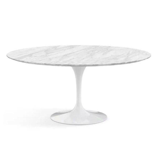 Mesa Saarinen Tulipa Branca - Tampo Oval 160 x 90cm - Mármore Carrara