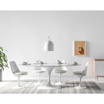Mesa Saarinen Tulipa Branca - Tampo Oval 180cm x 100cm - Mármore Carrara