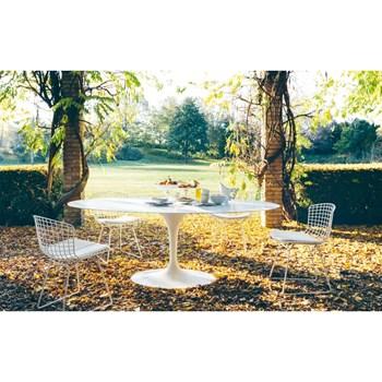 Mesa Saarinen Tulipa Branca - Tampo Oval 198x122cm - Mármore Espírito Santo
