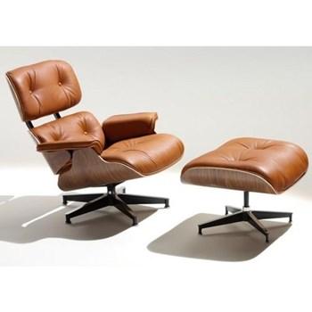 Poltrona Charles Eames com Puff - Cor Caramelo