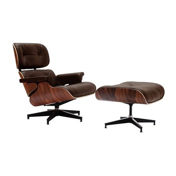 Poltrona Charles Eames com Puff - Cor Marrom
