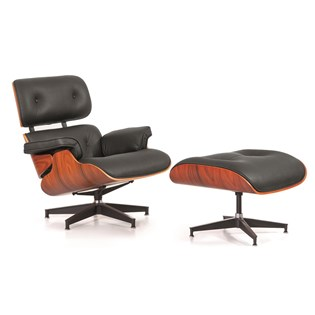 Poltrona Charles Eames com Puff - Cor Preta